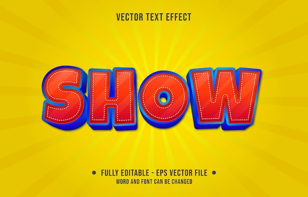 Editable text effect - red show and blue gradient color style