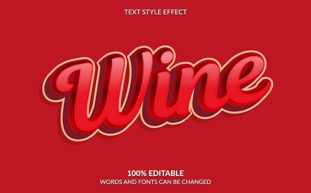 Editable text effect, red wine text style