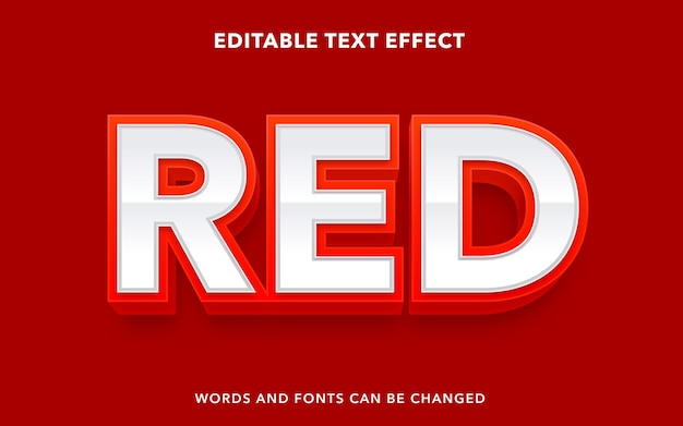 Editable text effect for red