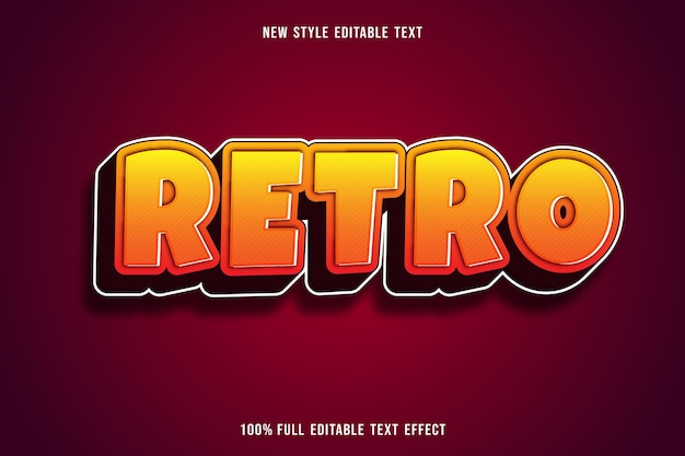 Editable text effect retro color yellow and brown