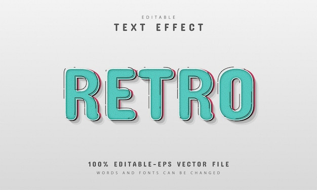 Editable text effect - retro style