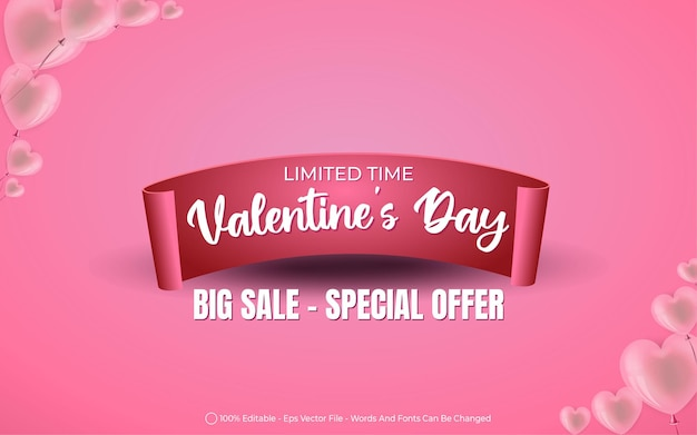 Editable text effect, ribbon valentine's day big sale style illustrations