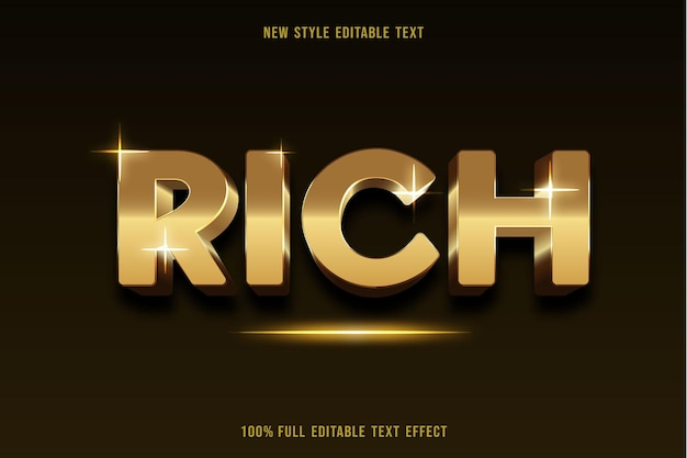 Editable text effect rich color gold and brown