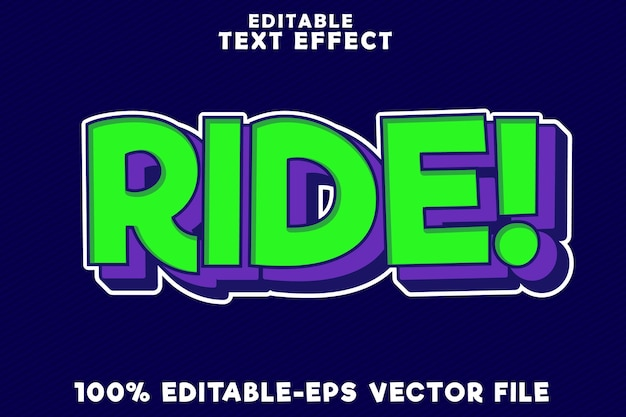 Editable text effect ride with new comic pop art style