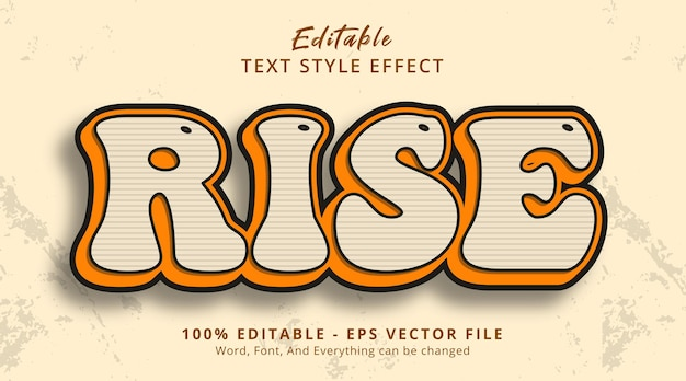 Editable text effect, rise text on classic cartoon style effect