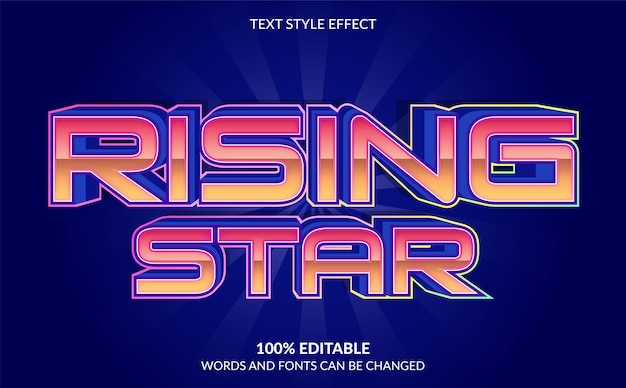 Editable text effect rising star text style