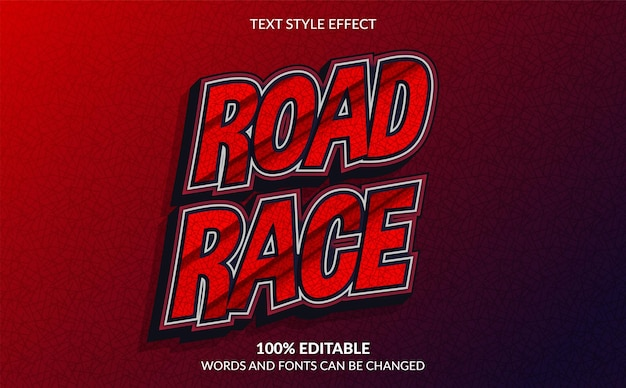 Editable text effect road race text style