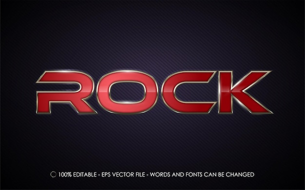 Editable text effect, rock style illustrations