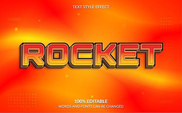 Editable text effect rocket text style