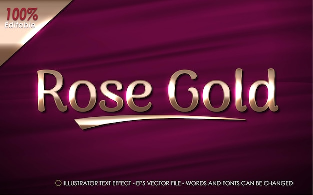 Editable text effect, rose gold style illustrations