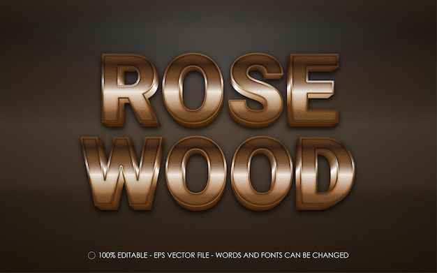 Editable text effect, rose wood style