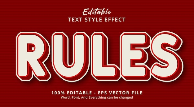 編集可能なテキスト効果、赤と白のカラースタイル効果のルールテキスト