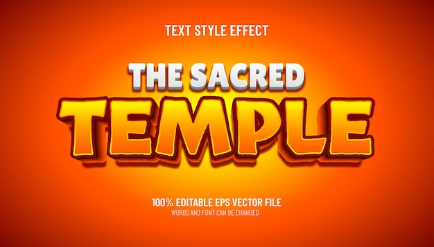 Editable text effect the sacred temple game style
