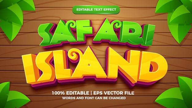 Редактируемый текстовый эффект - 3d шаблон в мультяшном стиле сафари-острова