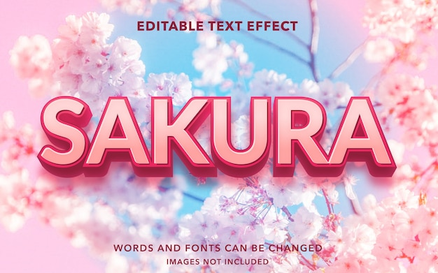 Editable text effect for sakura flower