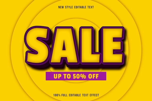 Editable text effect sale in yellow and purple