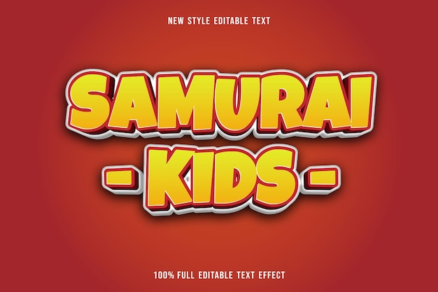 Editable text effect samurai kids color yellow and red white