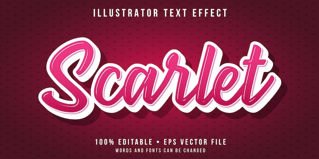 Editable text effect - scarlet red script style
