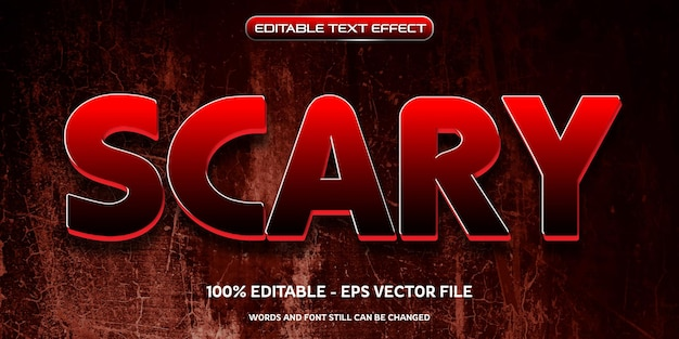 Editable text effect scary, devil, haunted, halloween event