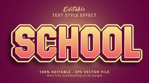 Editable text effect, school text on comic poster style effect