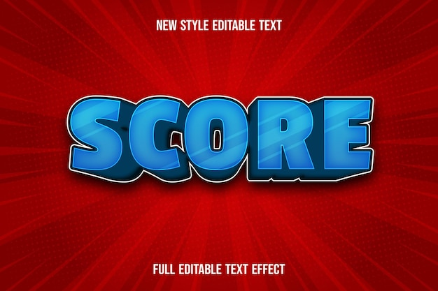Editable text effect score color blue gradient