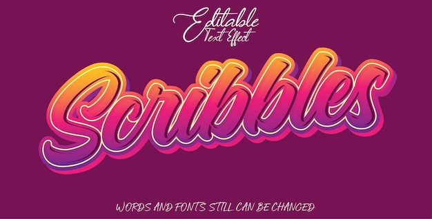 Editable text effect scribbles