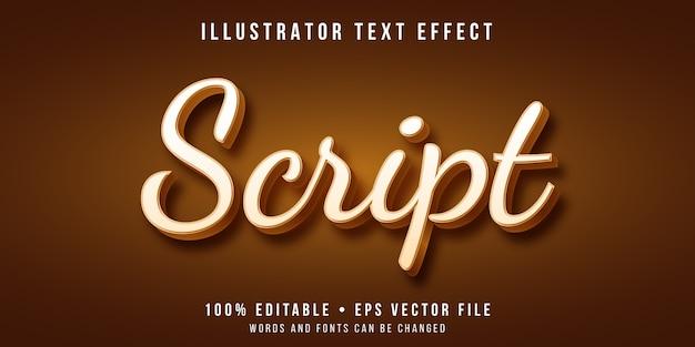 Editable text effect - script font style