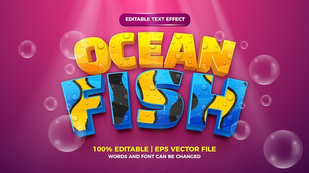 Editable text effect - sea fish cute style 3d template on deep sea background
