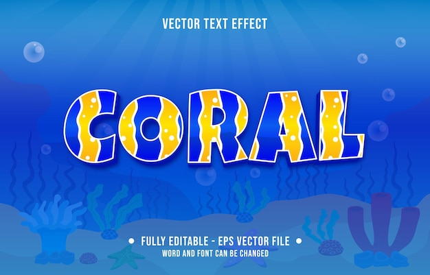 디지털 및 인쇄 미디어 템플릿에 대한 편집 가능한 텍스트 효과 바다 바다 물고기 패턴 테마 스타일