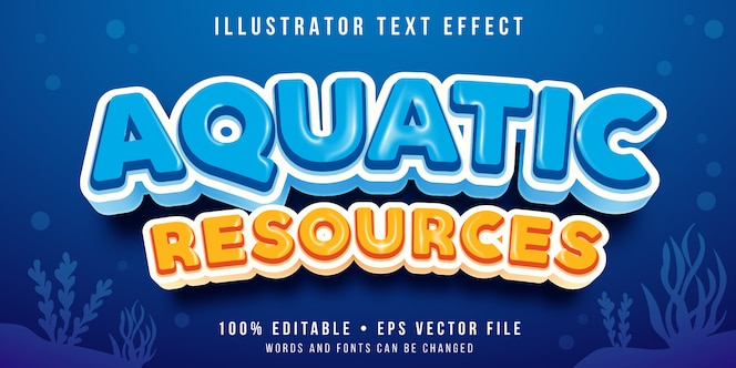 Editable text effect - under the sea style