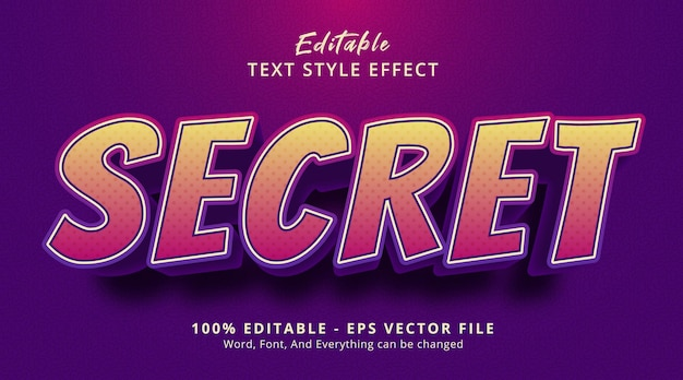 Editable text effect, secret text on headline gaming poster style