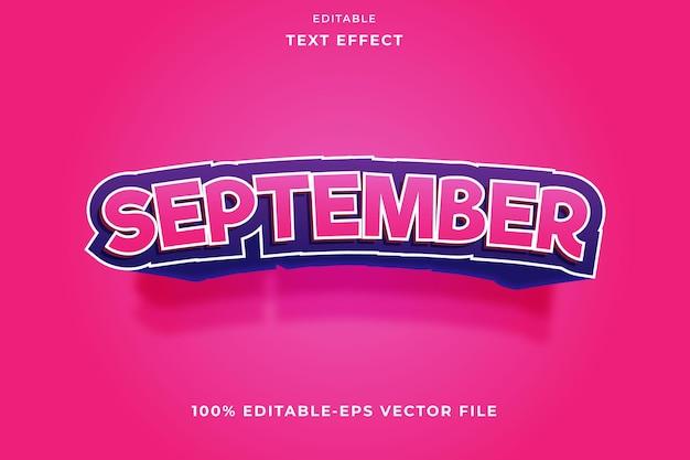 編集可能なテキスト効果9月のピンクのグラデーション
