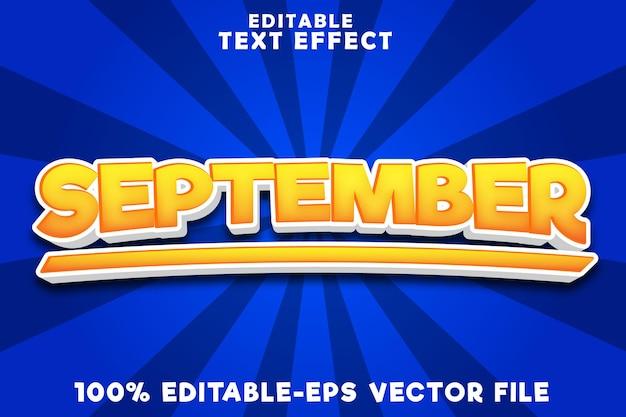 9月の黄色のスタイルで9月の編集可能なテキスト効果