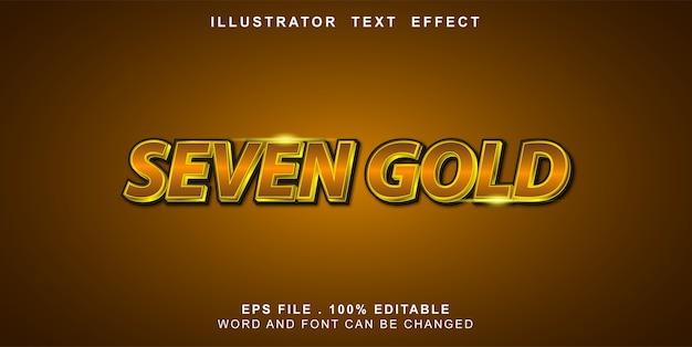 Editable text effect seven gold
