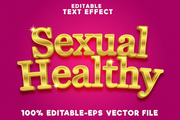 Editable text effect sexual healthy with gold modern luxury style