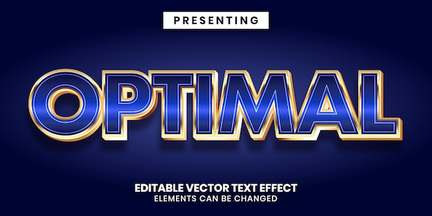 Editable text effect - shiny blue gold metallic style