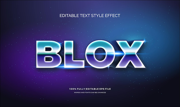 Editable text effect shiny chrome and blue. text style effect.