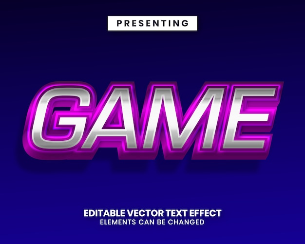Редактируемый текстовый эффект - блестящий фиолетовый серебристый металлик