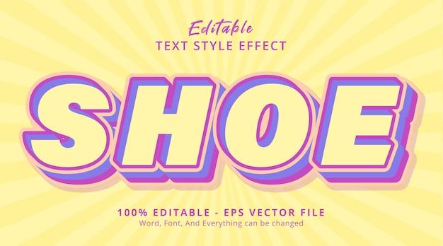 Редактируемый текстовый эффект, текст обуви на светлом цвете, эффект стиля заголовка