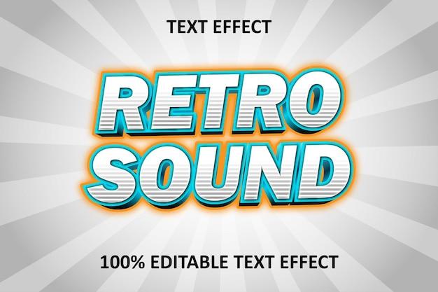 Editable text effect silver blue orange retro