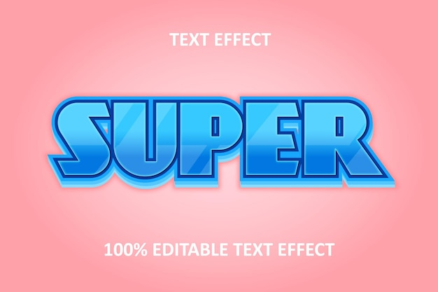 Editable text effect silver blue pink