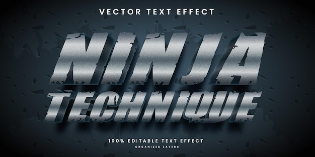 Editable text effect in silver color metallic ninja style premium vector