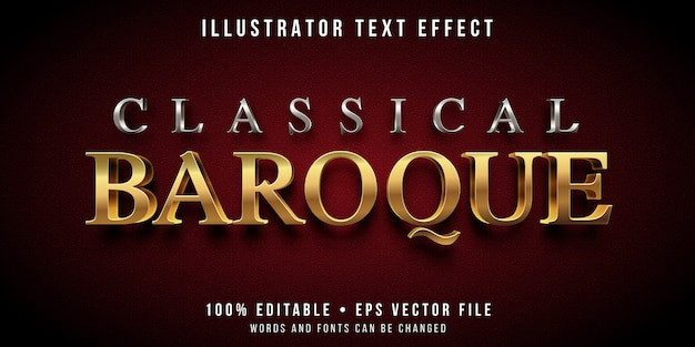 Editable text effect - silver and gold baroque style