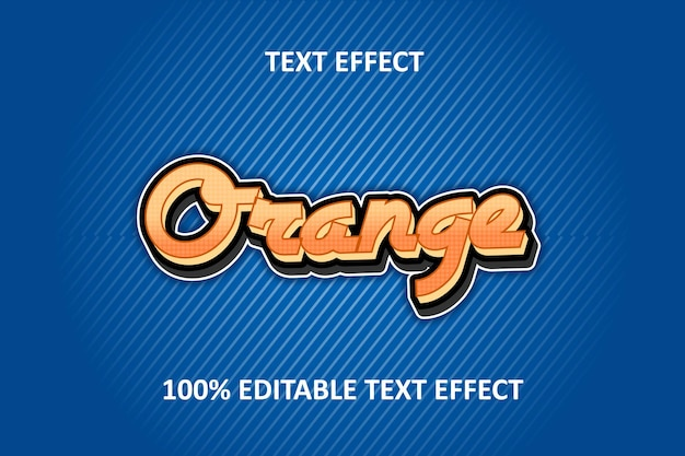Editable text effect silver orange blue