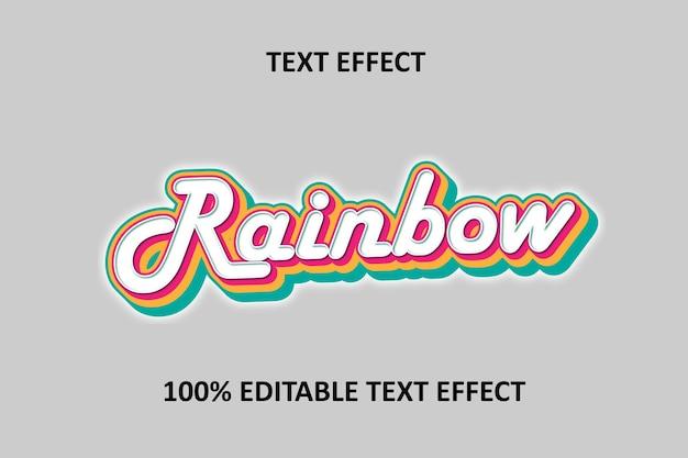 Editable text effect silver rainbow
