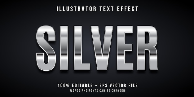 Editable text effect - silver style
