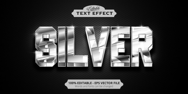 Editable text effect, silver text