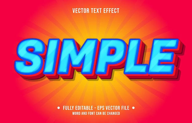 Editable text effect - simple blue and red gradient color style