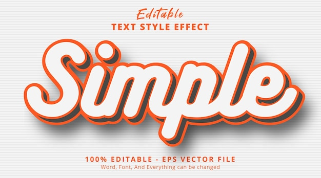 Editable text effect, simple text on smooth color style effect