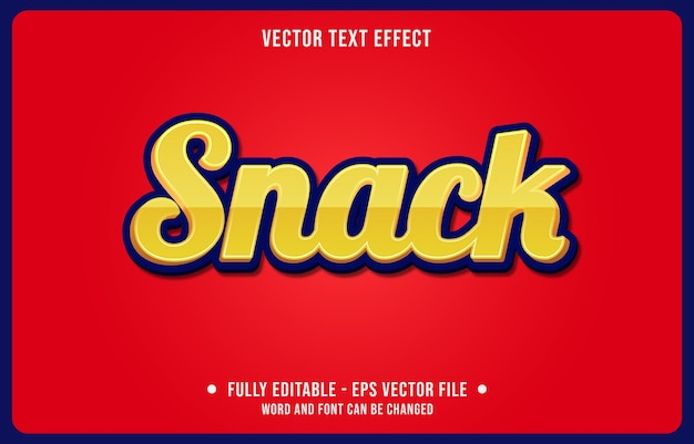 Editable text effect snack yellow modern style